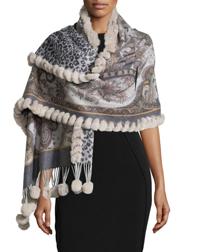 Reversible Cashmere Fur-Trim Shawl, Gray