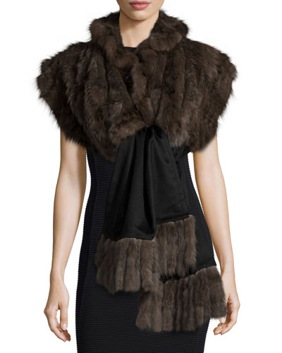 Sable Fur Stole w/Detachable Cashmere Fringe