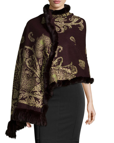 Cashmere Reversible Shawl w/Fur Trim