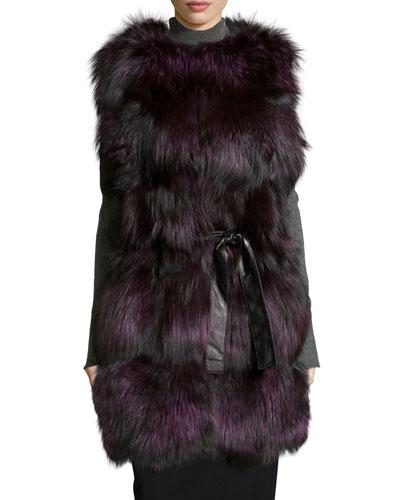 Fox Fur Belted Vest, Violet