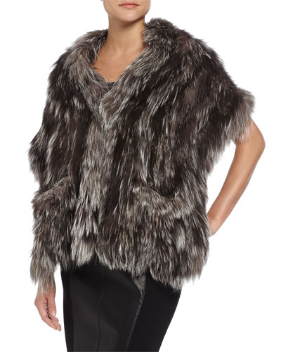 Knit Fox-Fur Shawl with Pockets