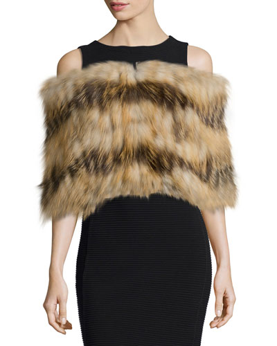 Layered Fox Fur Cowl Collar
