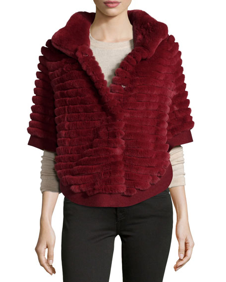 Layered Rabbit Fur Poncho