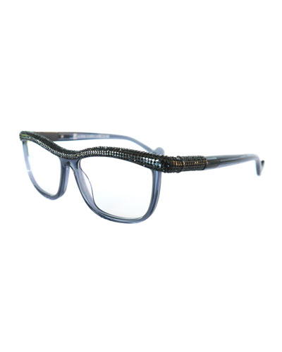 Kiki on a String Rhinestone Optical Frames, Gray