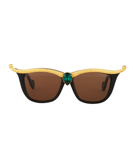 Empress Embellished Square Sunglasses w/ Crystal Center, Black/Emerald