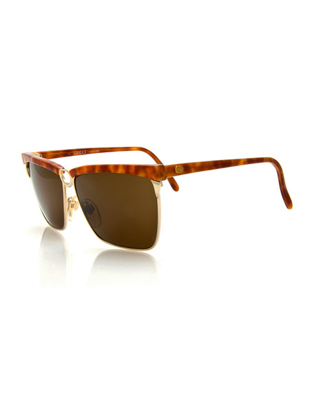 Gucci Vintage Square Sunglasses, Gold/Tortoise