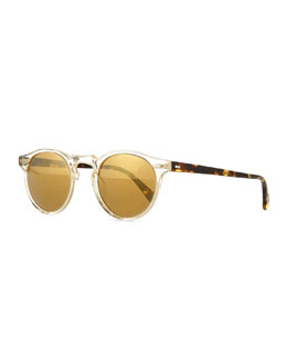 Gregory Peck Round Plastic Sunglasses, Clear/Tortoise