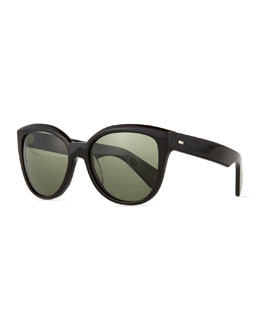 Abrie Plastic Polarized Cat-Eye Sunglasses, Black