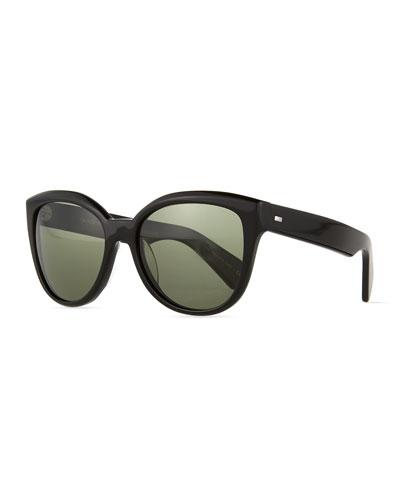 Abrie Plastic Polarized Cat-Eye Sunglasses, Black