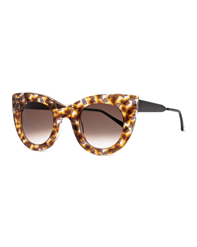 Cheeky Flecked Cat-Eye Sunglasses, Burgundy