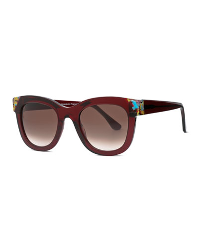 Chromaty Square Sunglasses, Burgundy
