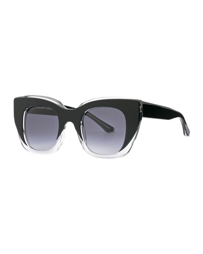 Intimacy Square Cat-Eye Sunglasses, Black/Clear