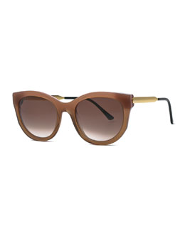 Lively Cat-Eye Sunglasses, Gradient Brown