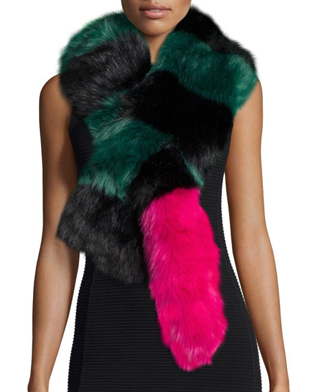 Big Daddy Faux-Fur Scarf, Green/Black/Pink