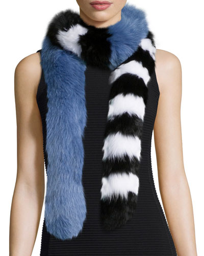 Candy Cane Fox-Fur Scarf, Black/White/Blue