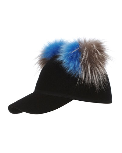 Sass Baseball Cap w/ Two-Tone Fur Pom-Poms, Black/Blue/Gray