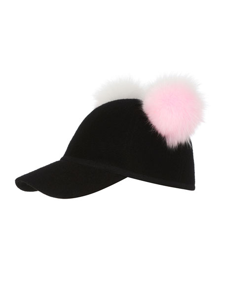 Sass Baseball Cap w/ Two-Tone Fur Pom-Poms, Black/Pink/White