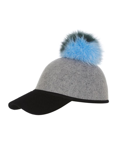 Sass Baseball Cap w/ Tricolor Fur Pom-Pom, Gray/Green/Blue/Black