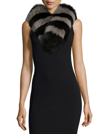 Charlotte Simone Candy Stripe Fox Fur Collar, Black/Gray