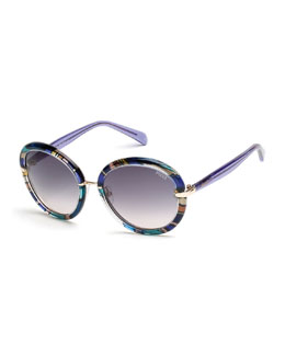 Round Printed Sunglasses, Blue