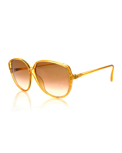 Vintage Flat-Top Sunglasses, Yellow