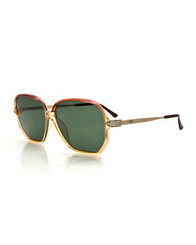 Vintage Ombre-Frame Sunglasses, Beige/Pink
