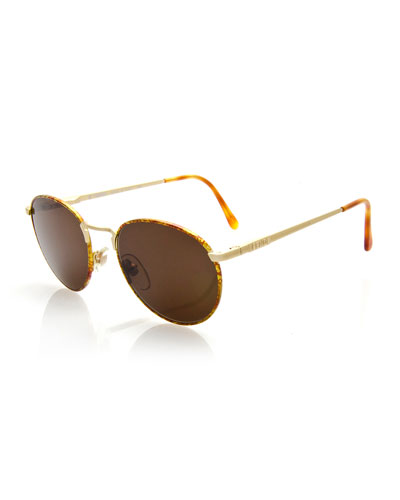 Vintage Round Speckled Sunglasses, Gold