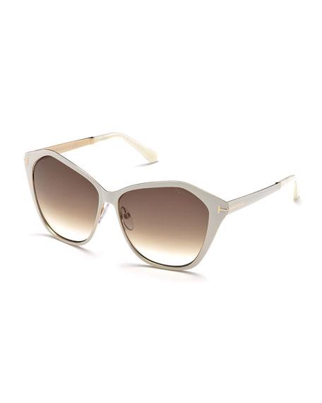 Leana Lacquered Metal Sunglasses