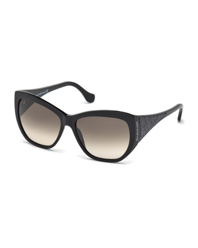 Leather-Temple Square Sunglasses