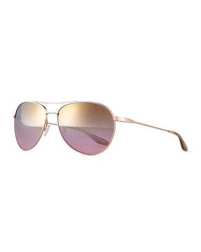 Universal Fit Lovitt Aviator Sunglasses, Gold/Lilac