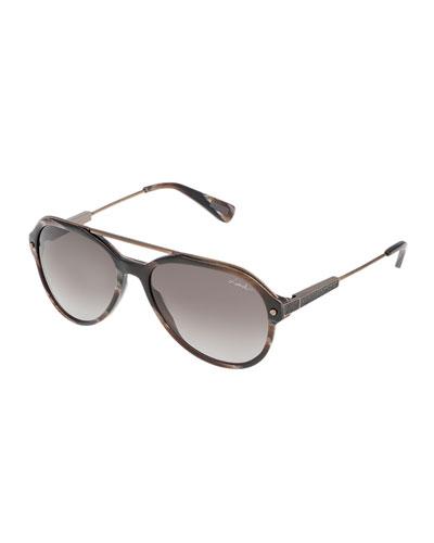 Acetate & Metal Aviator Sunglasses