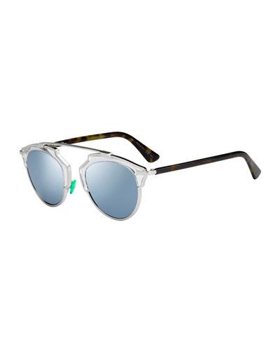 So Real Mirrored Sunglasses, Silver/Blue
