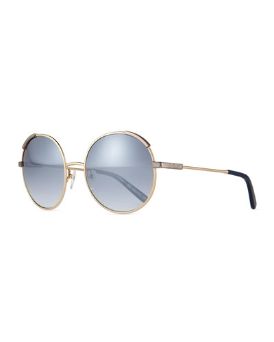Round Oversize Sunglasses, Golden/Blue