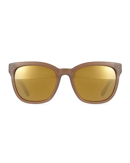 Square Plastic Flash-Lens Sunglasses