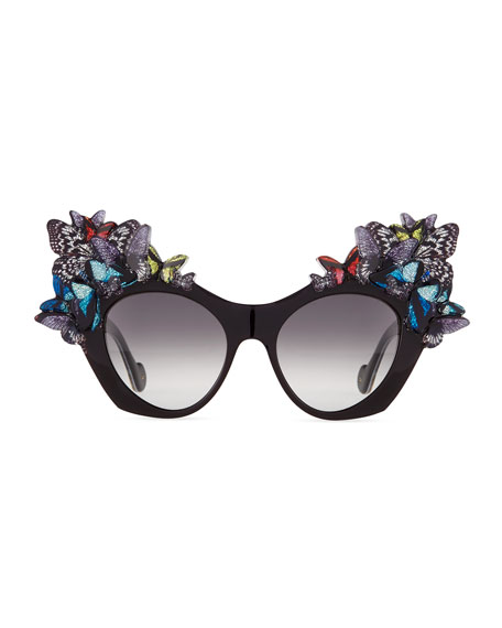3D Glitter Butterfly Sunglasses