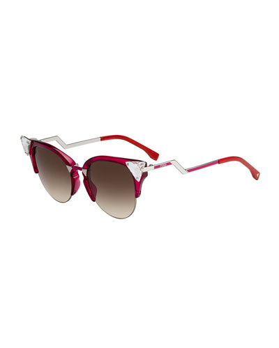 Iridia Cat-Eye Crystal-Tip Sunglasses, Red