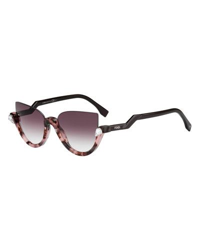 Half-Rim Crystal Cat-Eye Sunglasses