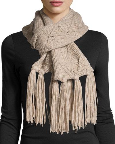 Cashmere Tassel-Knit Scarf, Beige