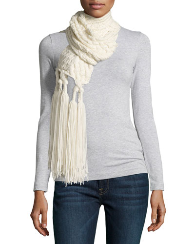 Cashmere Mixed-Knit Tassel Scarf, Cream