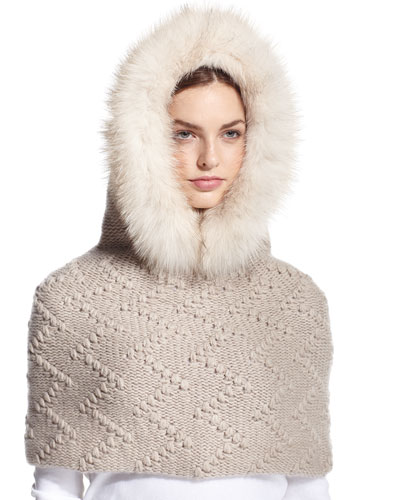 Fur-Trim Hooded Cashmere Snood, Beige
