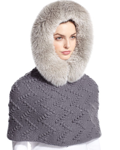 Fur-Trim Hooded Cashmere Snood, Gray
