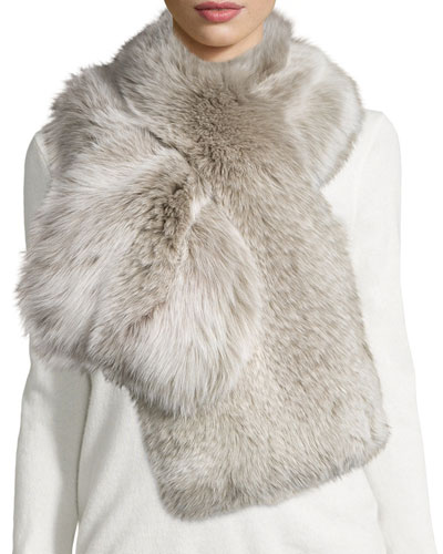 Fox-Fur Pull-Through Scarf, Light Gray