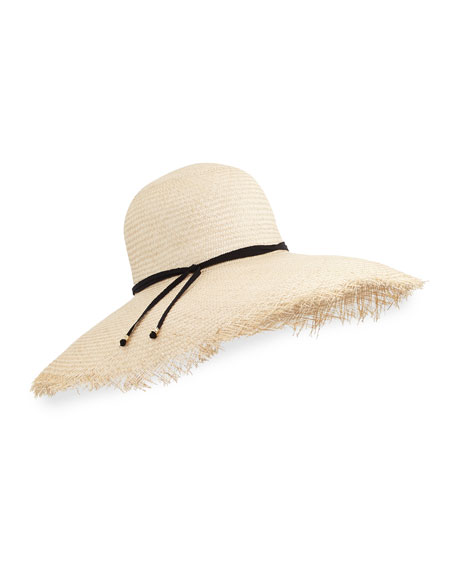 Iris Frayed Straw Hat, Natural