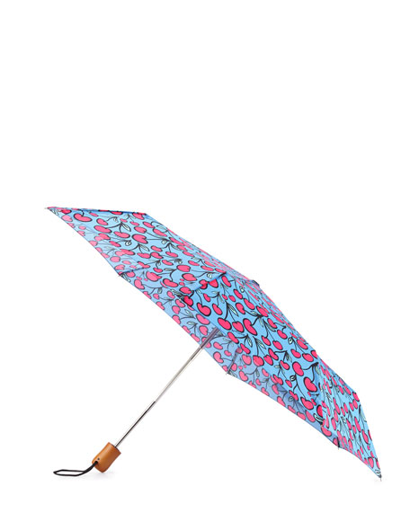 Anna Coroneo Cherry-Print Umbrella, Pink/Blue