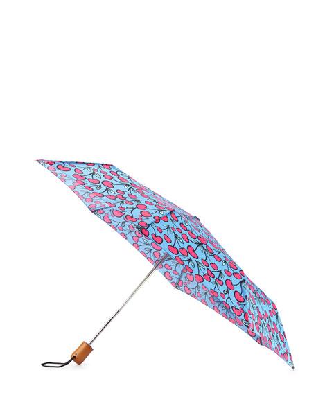 Cherry-Print Umbrella, Pink/Blue