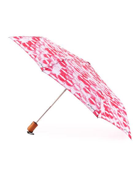 Anna Coroneo Kiss-Print Umbrella, Pink/White