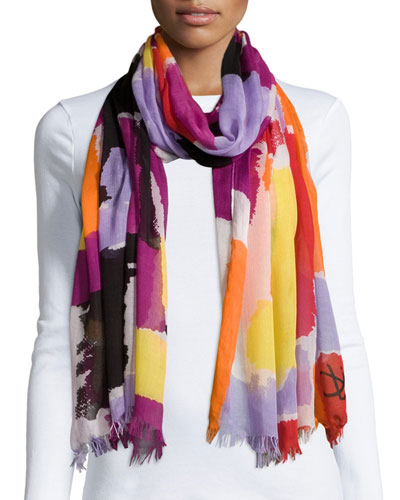 Hanovar Modal Watercolor Scarf, Hot Orchid