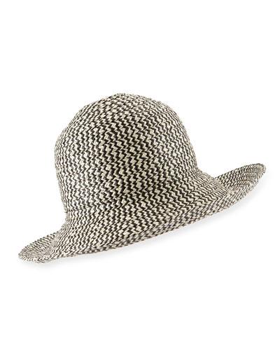 Structured Sun Hat, Black/Beige