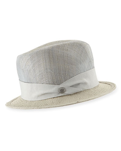 Straw Fedora Hat, Gray