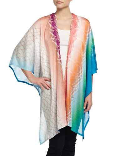 Abstract Zigzag Wrap Cape, Multicolor